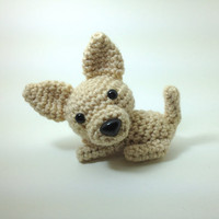 Chihuahua Amigurumi Stuffed Animal Dog Handmade Crochet Dog Doll / Made to Order