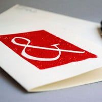 Ampersand Greeting Card in Red, Typography Hand-printed Linocut 5x7 Blank Notecard
