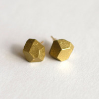Faceted Rock Steady Studs Gold by afair937 on Etsy