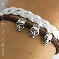 Skulls bracelet, pandora bead bracelet, braid leather bracelet, rock style