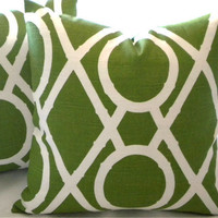Decorative Pillow cover, set of (2)  Green lattice designer covers