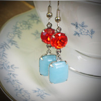 Vintage Rhinestone Earrings, Tangerine, Aqua, Jewelry