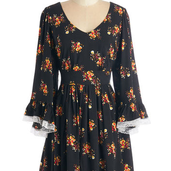 Bea & Dot Boho Mid-length Long Sleeve A-line Through the Bluebells Dress in Bouquets