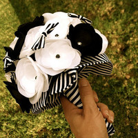 Bridal Bouquet Handmade flowers and bows in Black and by cshiver