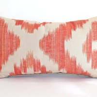 Lee Jofa Lumbar Pillow Cover in Orange and Oatmeal Ikat Linen