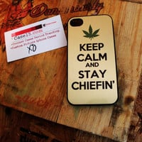 Keep calm chieffin' Wiz khalifa weed Apple iphone 4 / 4s Hard Case