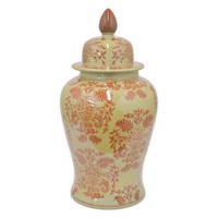 "24"" Floral Ginger Jar, Yellow/Red, Jars, Canisters, Tins & Bottles"