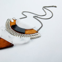 Kites Geometrical necklace - perspex, formica, wood and metal