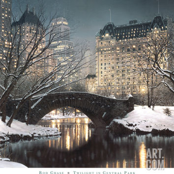 Twilight in Central Park Art Print by Rod Chase at Art.com