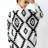 Aztec Open Knit Cardigan - New Arrivals - Retro, Indie and Unique Fashion