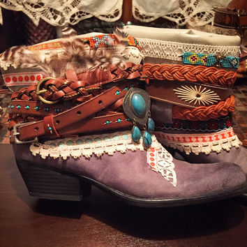 """The """"Trish"""" - Custom Upcycled Leather Cowboy Boots"""
