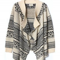 Aztec Zig Zag Intarsia Knit Beige Cape - Outers - Retro, Indie and Unique Fashion