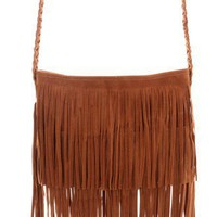 Camel Fringe Knit Strap Shoulder Bag - Bags - Goods - Retro, Indie and Unique Fashion