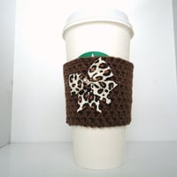 Bow Coffee Cup Sleeve Cozy, Brown and Leopard