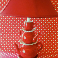 Red Teapot Lamp  Stacked Teapots with Tea Cup and by ThistleandJug