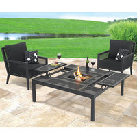 The Outdoor Convertible Coffee to Dining Table - Hammacher Schlemmer