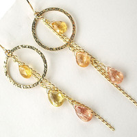 Imperial Topaz Hoop Dangle Earrings 14kt Gold Filled Wire Wrapped Chain Golden Gemstone Earrings Luxury Summer Fashion