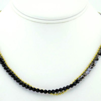 """Black and white""  - Handmade Crystal Wrapped beaded Necklace"