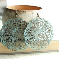 Large Filigree Earrings, Dangle Earrings Large Drop Lacy Pattern Spanish Doily Denim Blue Aqua, Turquoise, Rustic, Patina Jewelry, Boho Chic