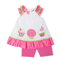 Rare Editions Newborn-24 Months Cupcake Dress & Dotted Leggings Set