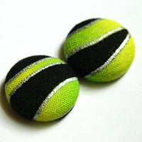 Button Earrings Green- Yellow- Black- Silver Lining Stripes Abstract