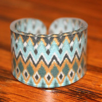 Size 9 Ikat Blue Pattern Ring Size 9 by kaykreationsphoto on Etsy
