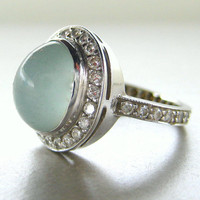 14k white gold diamond ring with cabochon milky aquamarine.  Engagement ring.