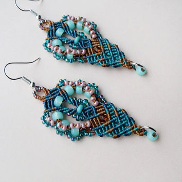 Micro macrame earrings - Teal Turquoise Gold Peacock Boho Unique