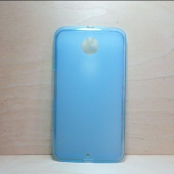 For Google Nexus 6 Blue Soft TPU translucent Color Case Protective Silicone Back Case Cover