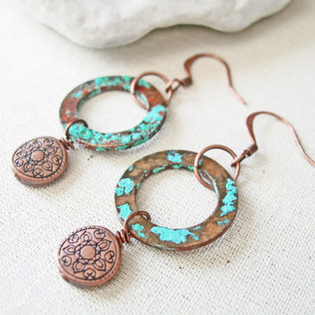 Copper Washer Earrings, Copper Patina Earrings, Copper Dangle Earrings, Verdigris Earrings, Hippie Boho Earrings, Gypsy Boho Earrings