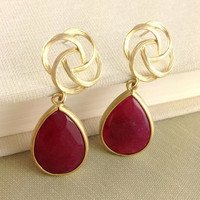 Ruby Color Dangle Earrings, Claret, Oriental Rose Earrings, Fashion, Bridesmaid Gift, Wedding, Christmas Gift, Birthday Gift