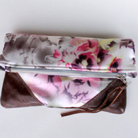 Fold over clutch, silk satin and leather clutch OOAK