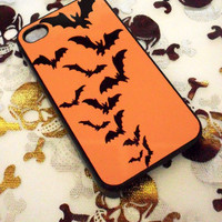 Halloween Orange and Black Bats IPhone 4G/4S Case Spooky Creepy