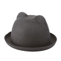 Cat Ear Straw Bowler Hat by Charlotte Russe - Black