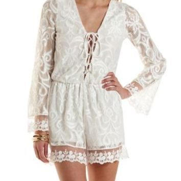 Lace-Up Mixed Lace Romper by Charlotte Russe - Ivory