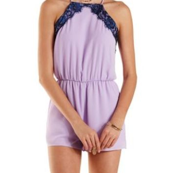 Lace & Chiffon Racer Front Romper by Charlotte Russe - Navy Combo