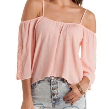 Crochet Cold Shoulder Peasant Top by Charlotte Russe - Peach