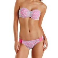 Caged Crochet Bandeau Bikini Top by Charlotte Russe - Pink Combo