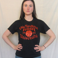 Vintage Awesome 1985 OHIO EUROPE BASKETBALL Northern University Sports 50/50 Men Women Soft T-Shirt