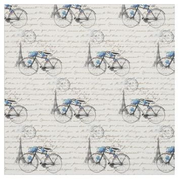 Paris Bicycle Forgetmenot Fabric