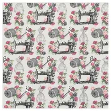 Vintage Sewing Pink Roses Fabric