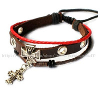 Bangle leather bracelet cross bracelet women bracelet men bracelet made of leather ,hemp ropes ,metal cross cuff bracelet  SH-0741
