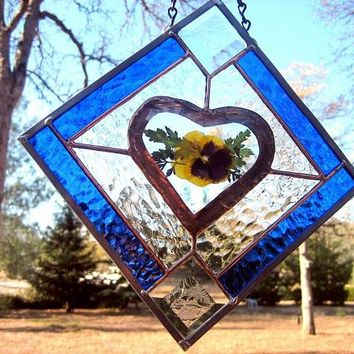 Stained glass pansy beveled heart panel, OOAK Handmade