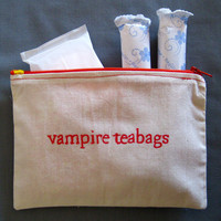 Indiscreet &quot;vampire teabags&quot; Zip Pouch for Tampons, Menstrual Pads, Feminine Products