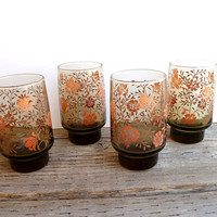 Vintage Floral Glasses set by Yesterdayand2day on Etsy