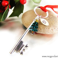 Santa's Magic Key Christmas Ornament - Green Tree and Personalized Monogram