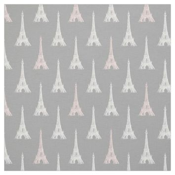 Paris Eiffel Tower Pink Gray Fabric