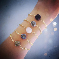 Mini Purple Druzy &amp; Gold Bracelet // Jewelry