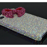 Bling Studded Swarovski Crystal iPhone case Bright Pink Bow iPhone Cover iPhone 4 Case iphone 4s case Custom iPhone 5 case custom color