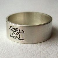 Sterling Silver Camera Ring, Photography, Band, Picture, Jewelry